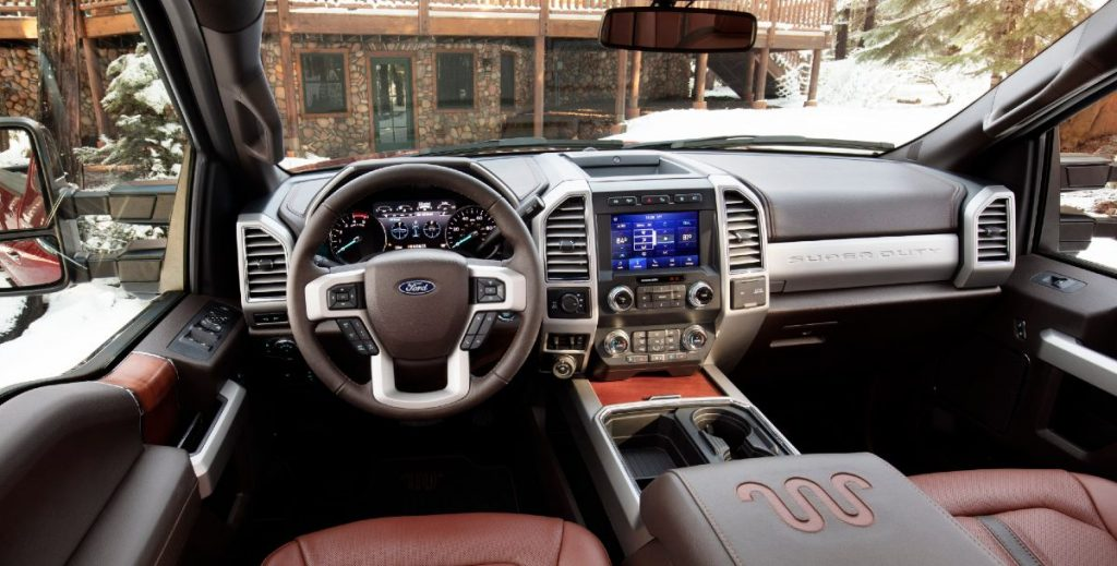front interior of a 2021 Ford Super Duty