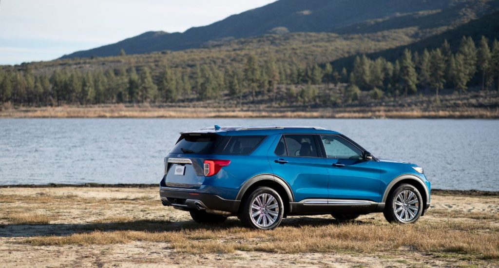 side view of a blue 2021 Ford Explorer