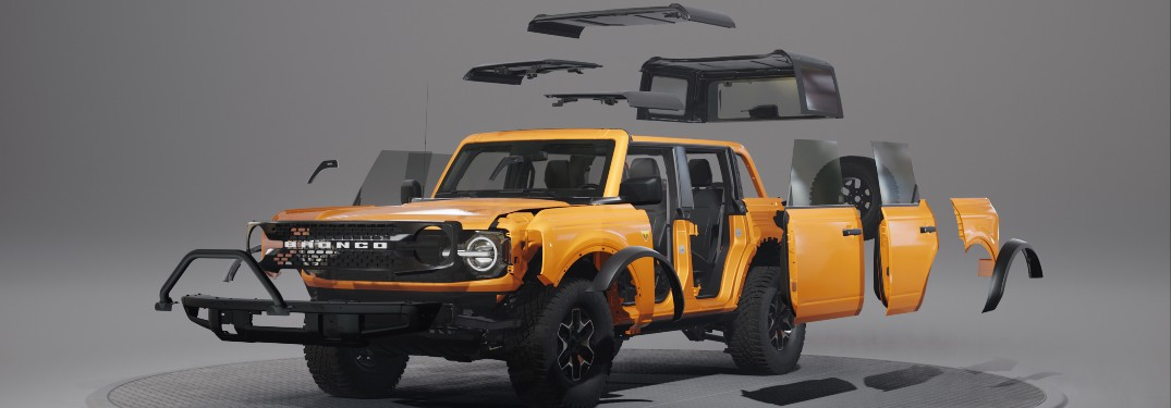 tear apart image of a yellow 2021 Ford Bronco