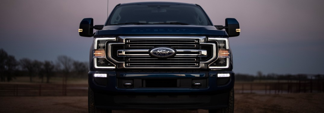 front view of a blue 2022 Ford Super Duty