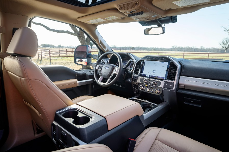 front interior of a 2022 Ford Super Duty