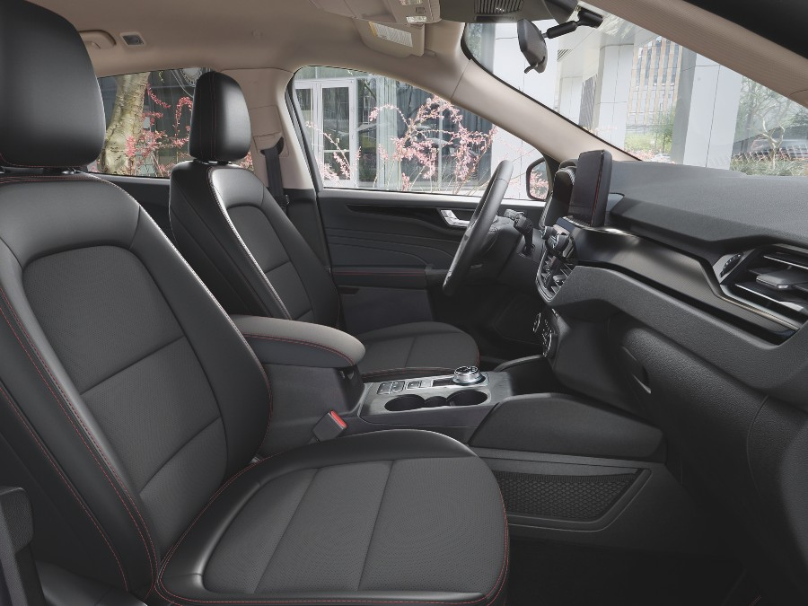 front seats of a 2021 Ford Escape with the Stealth Package