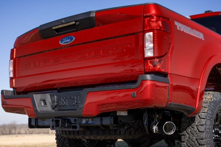 rear end of a red 2022 Ford Super Duty