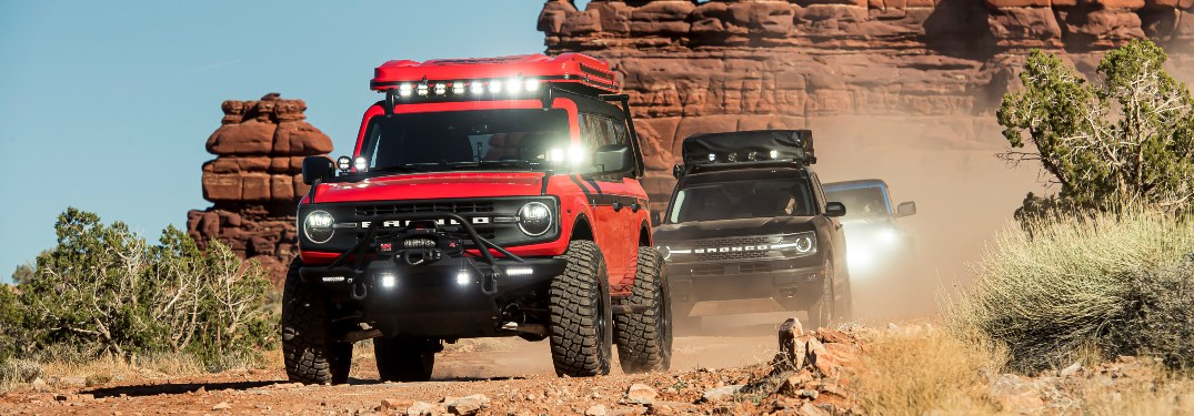 2021 Ford Bronco SUVs driving in a line