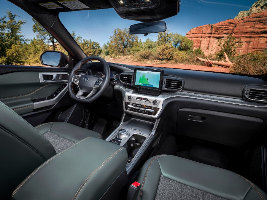 front interior of a 2021 Ford Explorer Timberline