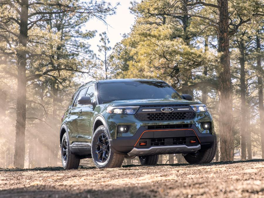 front view of a green 2021 Ford Explorer Timberline