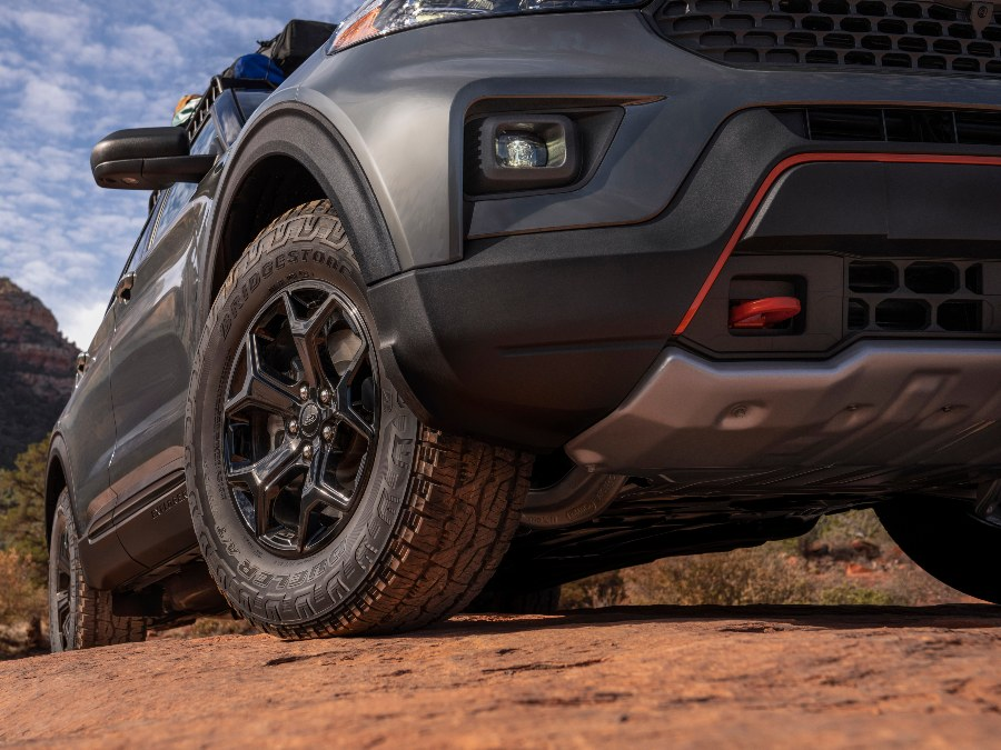 low angle view of the front of a 2021 Ford Explorer Timberline