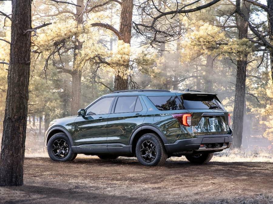 side view of a green 2021 Ford Explorer Timberline