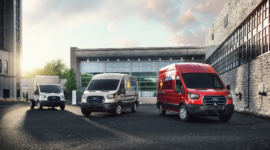 three 2022 E-Transit vans