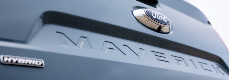 Ford logo and Maverick tailgate badge on a 2022 Ford Maverick