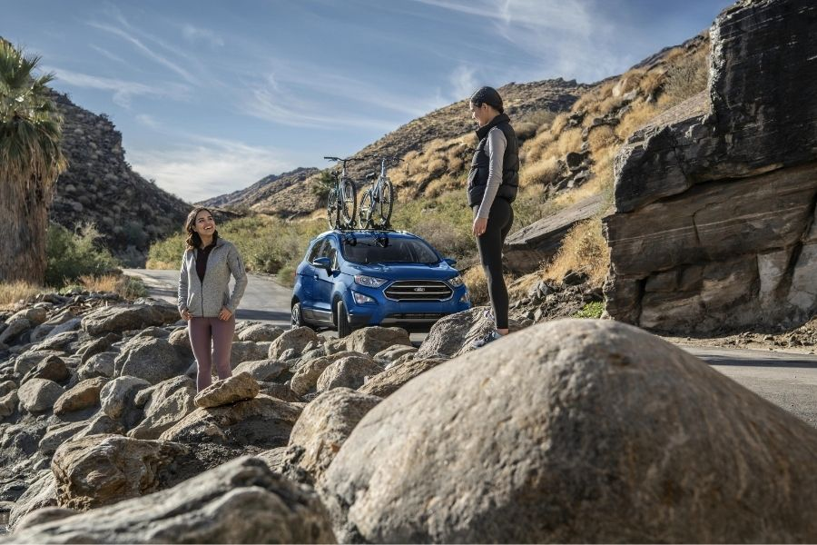 2021 Ford EcoSport Front Right-Quarter View Parked on Road with rocky hills in the background