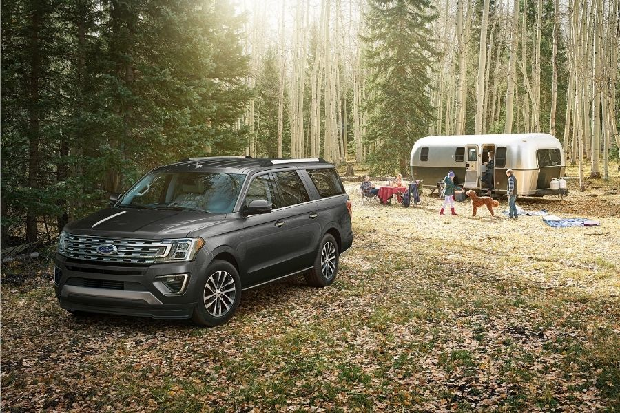 2021 Ford Expedition Front Left-Quarter View parked in a forest