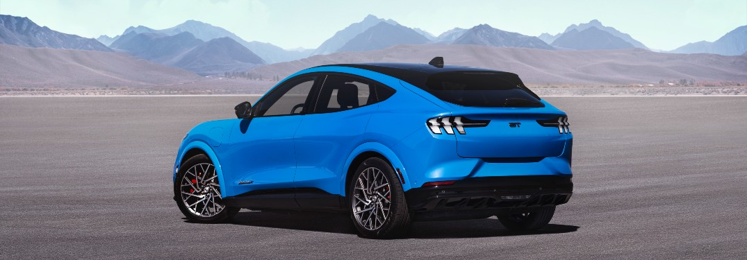 side view of a blue 2021 Ford Mustang Mach-E