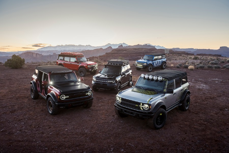 a group of 2021 Ford Bronco SUVs