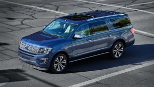 high angle side view of a blue 2021 Ford Expedition