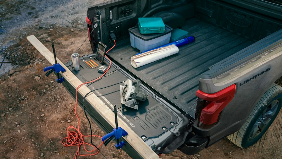 on-board generator in the bed of a 2022 Ford F-150 Lightning