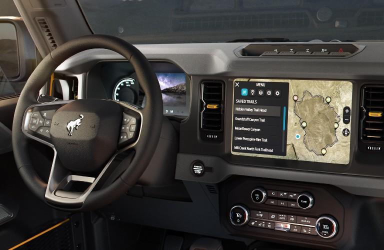 Interior front dash of 2021 Ford Bronco