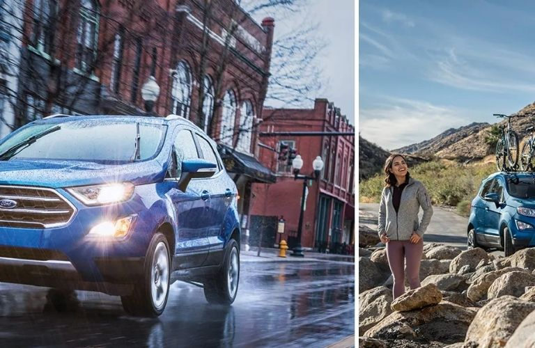 2021 Ford EcoSport carrying bicycle and parked in a rugged land
