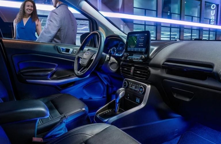 2021 Ford EcoSport steering, infotainment features and front interior