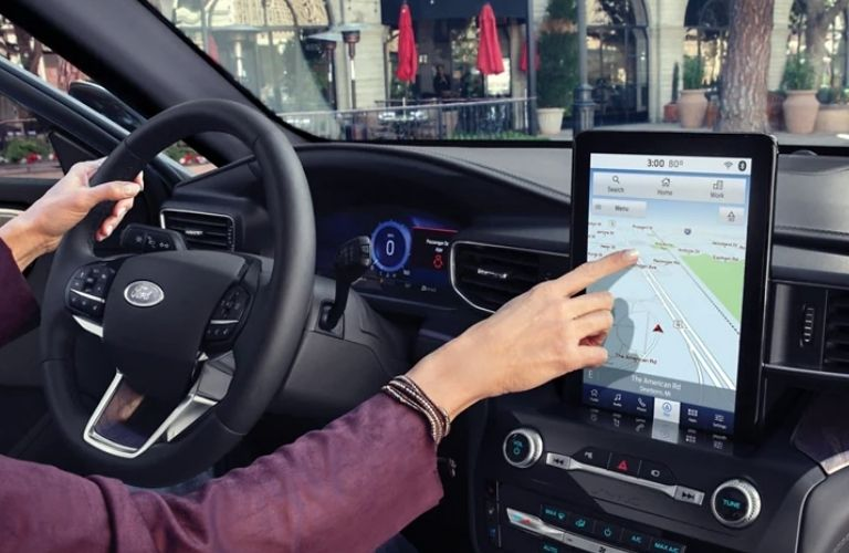Map displayed in the 2021 Ford Explorer infotainment screen