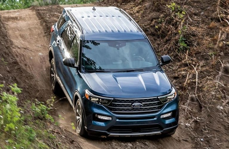 front view of the 2021 Ford Explorer in forest