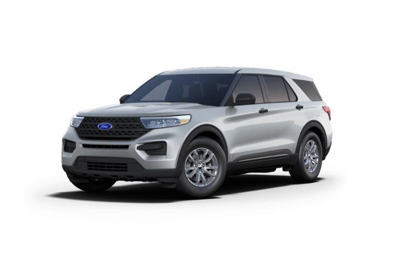 Front view of the 2021 Ford Explorer Iconic Silver