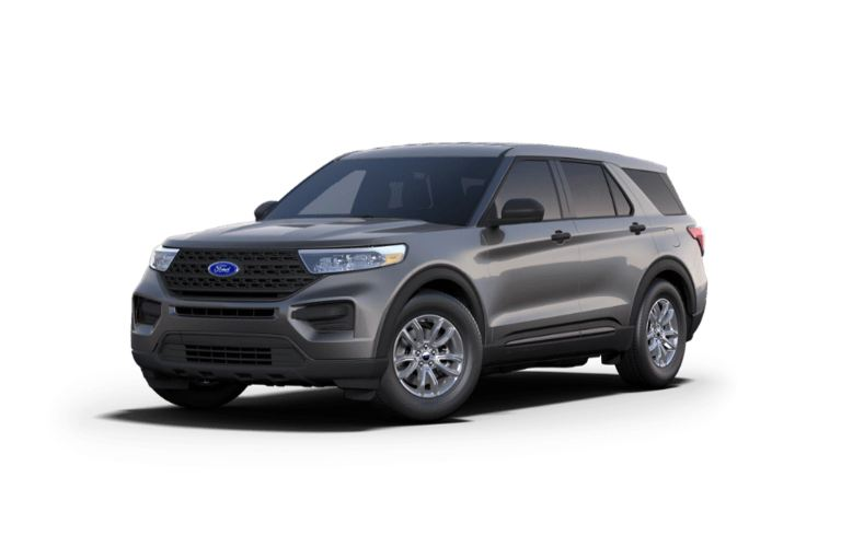 Front view of the 2021 Ford Explorer Carbonized Gray