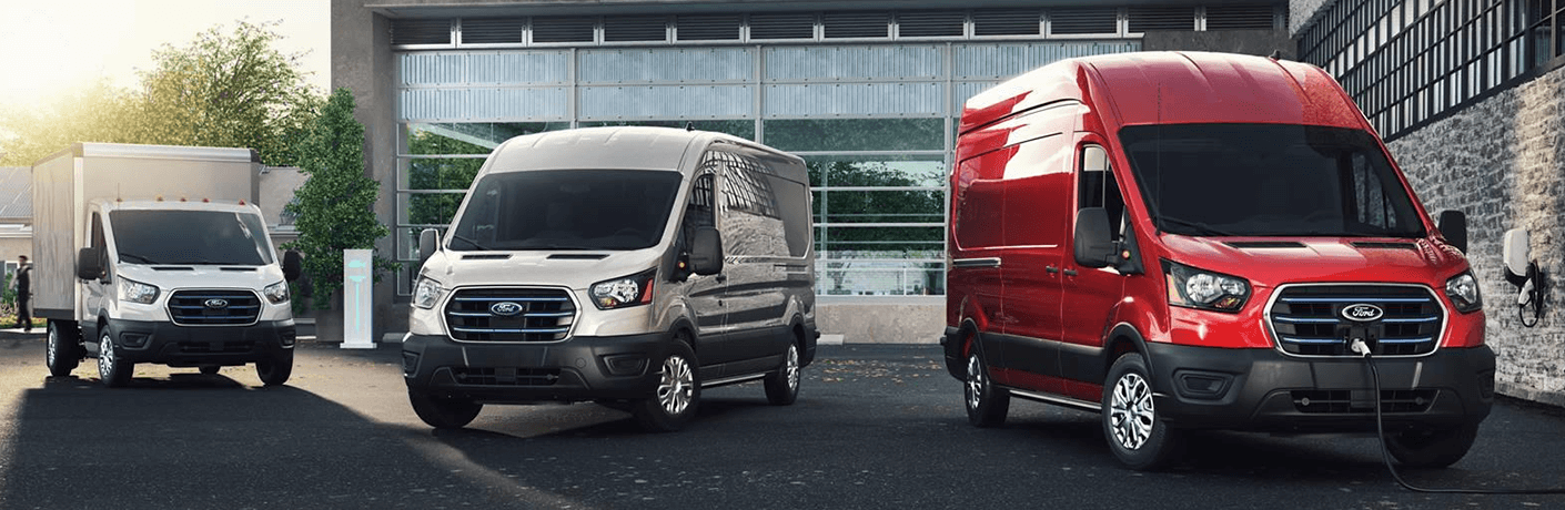 2022 Ford E Transit in a row