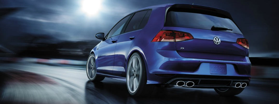 Rear exterior image of a blue Volkswagen Golf R