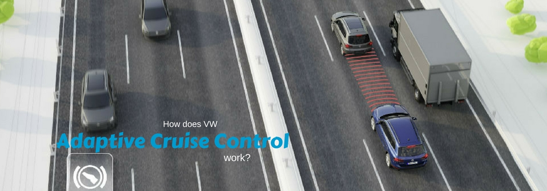 How does VW Adaptive Cruise Control work, test on an image of car using sensors to slow down for car ahead of them