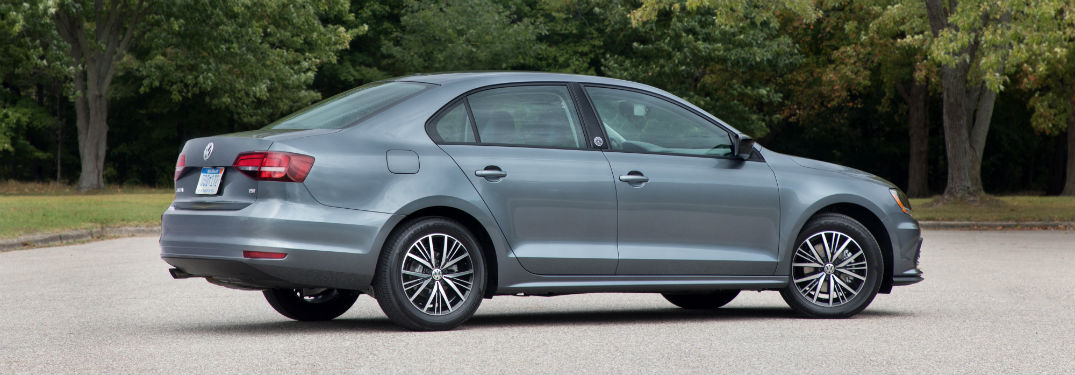 Passenger side exterior view of a gray 2018 VW Jetta