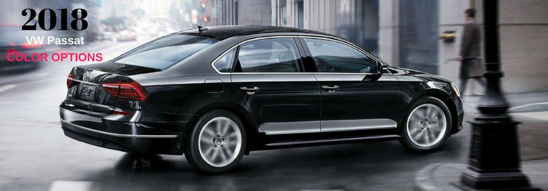2018 VW Passat Color Options, text on an image of the exterior of a black 2018 VW Passat