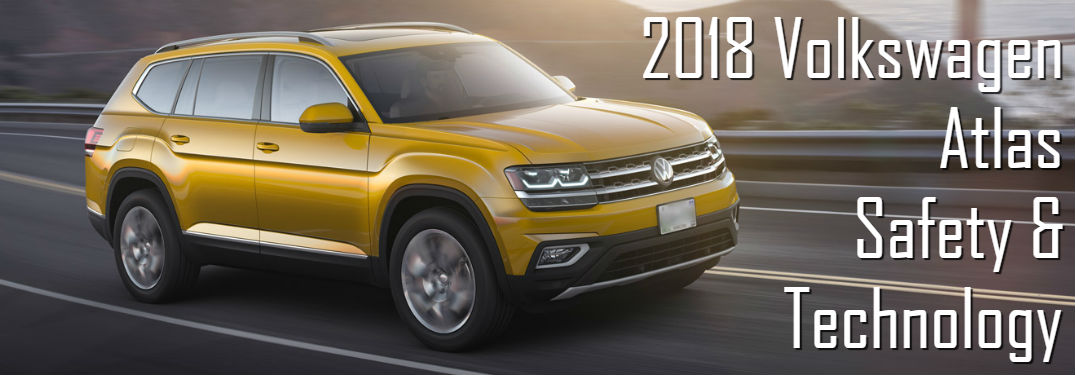2018 Volkswagen Atlas Safety & Technology with image of an Atlas driving down a road during a sunset