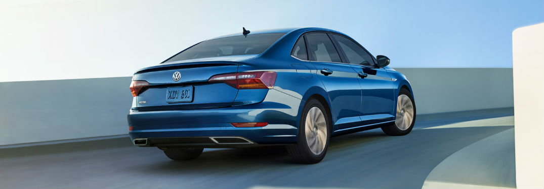 Rear exterior view of a blue 2019 VW Jetta