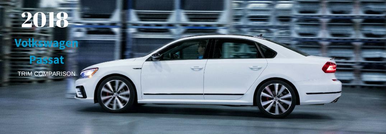 2018 Volkswagen Passat Trim Comparison, text on an exterior image of a white 2018 VW PAssat