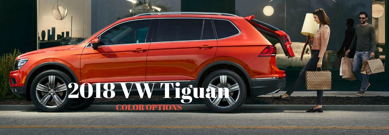 2018 VW Tiguan Color Options, text on an exterior image of an orange 2018 VW Tiguan