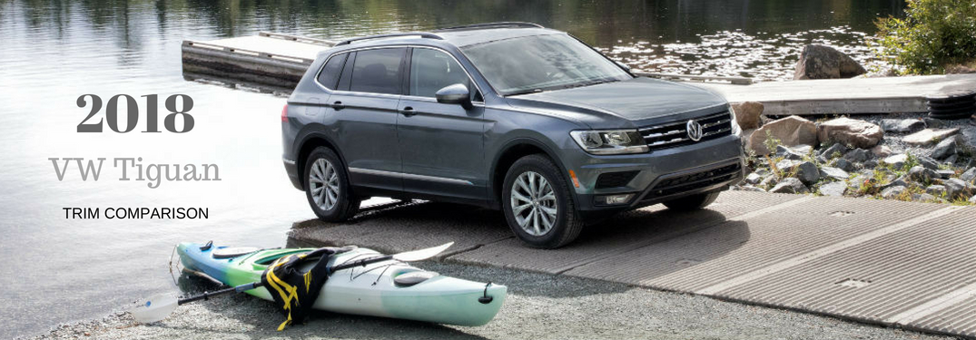 2018 VW Tiguan trim comparison, text on an exterior image of a gray 2018 Volkswagen Tiguan