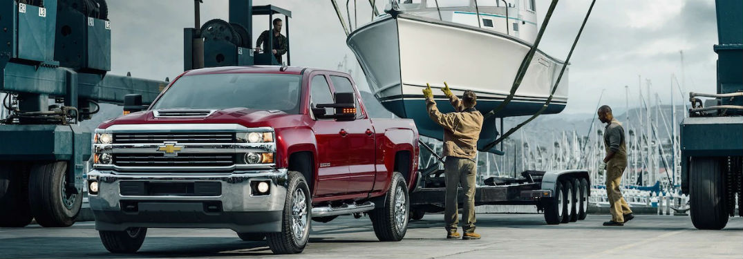 boat being loaded up on 2018 Chevy Silverado 2500HD