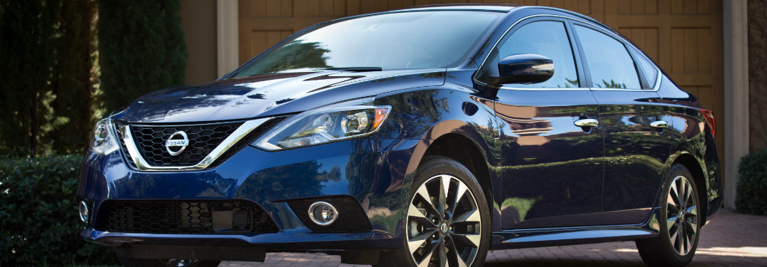 2017 nissan sentra blue front and side exterior