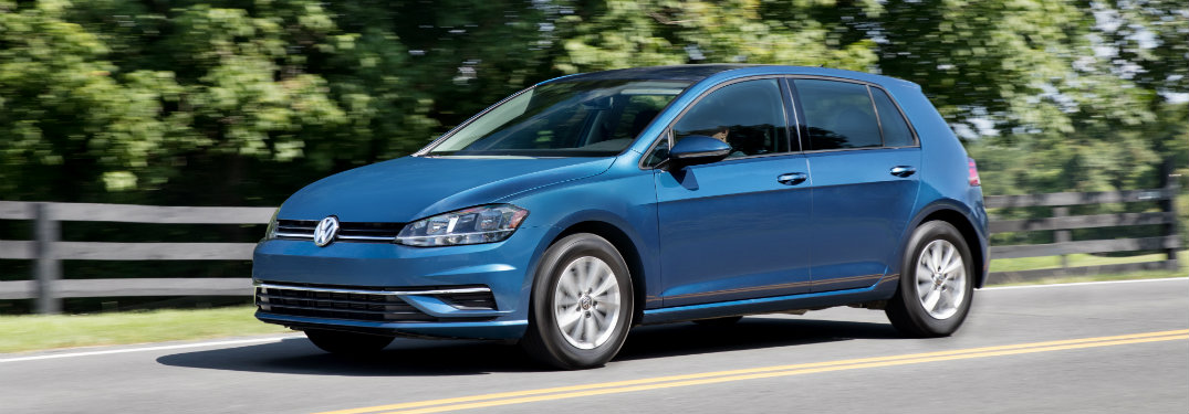 blue vw golf driving