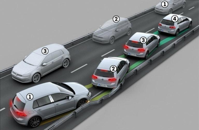 depiction of volkswagen golf in accident