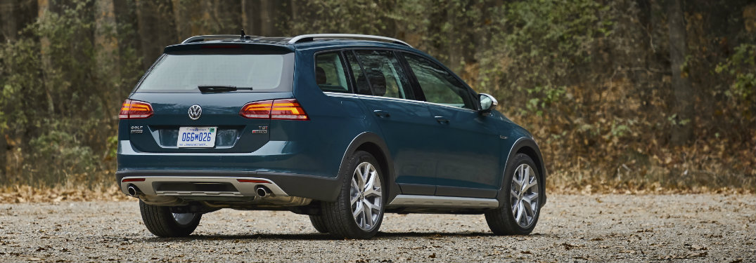 rear of blue volkswagen golf alltrack