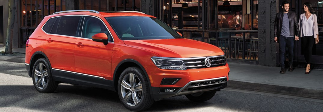 2019 Volkswagen Tiguan parked in front of a restaurant