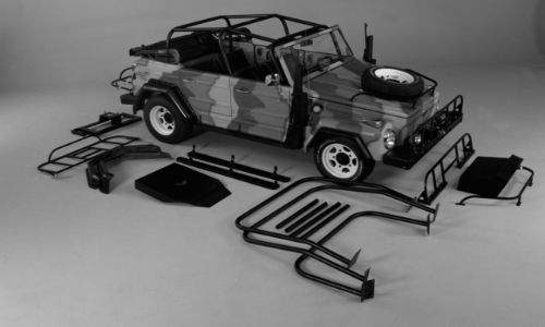 Volkswagen Type 181 car with its accessories laid out