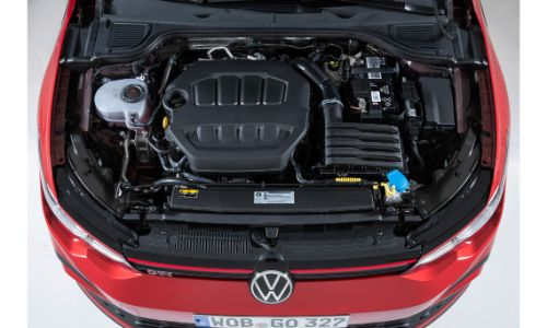 View of the VW Golf GTI engine