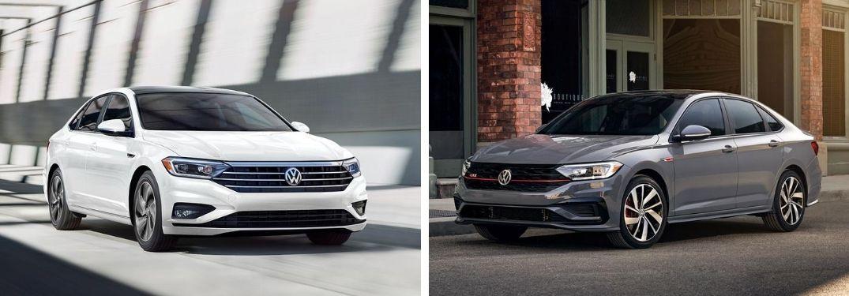 2020 Volkswagen Jetta in white and 2020 Volkswagen Jetta GLI in gray