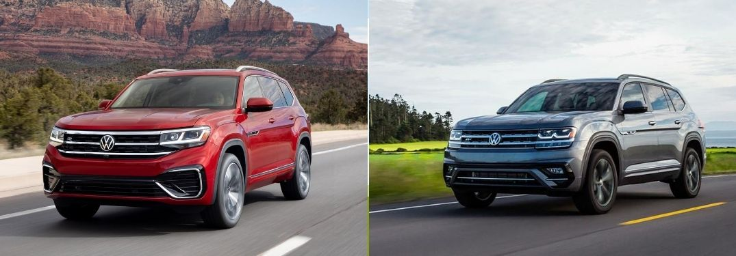 Red 2021 Volkswagen Atlas Front Exterior on Desert Highway vs Gray 2020 Volkswagen Atlas Front Exterior on a Country Road