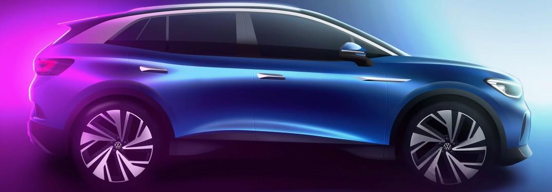 Volkswagen ID.4 exterior side promo shot with ambient lighting