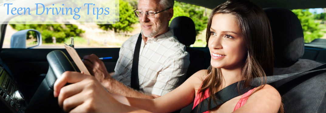 Useful Teen Driving Tips with image of teen learning to drive with instructor