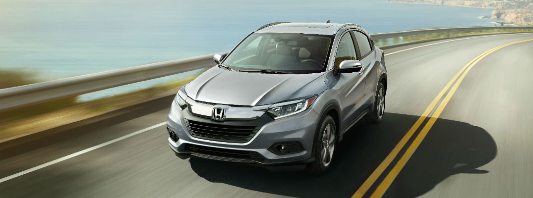 An overhead front quarter photo of the 2019 Honda HR-V.